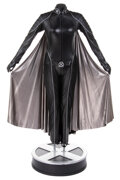 """Movie/TV Memorabilia, Halle Berry """"Storm"""" black leather battle suit with signature silver cape on life-size display base from X-Men...."""