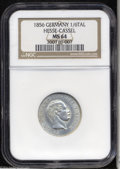 German States:Hesse-Cassel, German States: Hesse-Cassel. 1/6 Taler 1856, KM616 MS64 NGC....