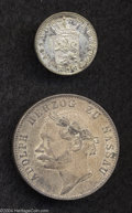 German States:Nassau, German States: Nassau. Lot of Two Coins, Cr-57 6 Kreuzer 1834 XF and Cr-64 Taler 1864 XF.... (Total: 2 coins Item)