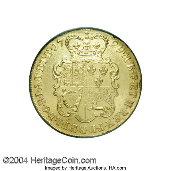 Great Britain: George II gold 5 Guineas 1729 EIC, Spink