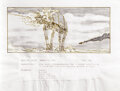 """Movie/TV Memorabilia, Star Wars: Episode V - The Empire Strikes Back original storyboard art of an """"At-At Walker"""" from Hoth battle sequence. ..."""