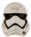 """Movie/TV Memorabilia, """"Stormtrooper"""" screen used helmet signed by the cast from Star Wars: Episode VII - The Force Awakens with Lucasfilm LOA...."""