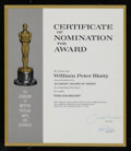 Movie/TV Memorabilia, William Peter Blatty Academy Certificate of Nomination for Best Screenplay The Exorcist....