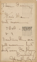 Movie/TV Memorabilia, Humphrey Bogart rare handwritten signed chess moves played on set during production of Casablanca....