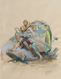 Frank Frazetta preliminary poster art study for Clint Eastwood's The Gauntlet