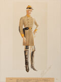 """Movie/TV Memorabilia, Walter Plunkett original costume sketch of Leslie Howard as """"Ashley Wilkes"""" in tattered Confederate uniform from Gone With the..."""