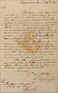 """George Washington autograph letter signed, 28 January 1781 """"Crossing the Delaware"""""""
