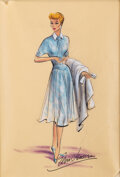 """Movie/TV Memorabilia, Lucille Ball """"Lucy Ricardo"""" costume sketch by Elois Jenssen for I Love Lucy...."""