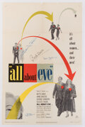 Movie/TV Memorabilia, All About Eve 1-sheet poster signed by Bette Davis, Joseph Mankiewicz, and Celeste Holm....