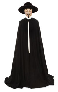 """""""V"""" signature Guy Fawkes mask, hat, and cape created for V for Vendetta"""