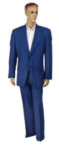 """Movie/TV Memorabilia, Will Ferrell """"Ron Burgundy"""" 2-piece blue suit and dress shirt from Anchorman: The Legend of Ron Burgundy. ..."""