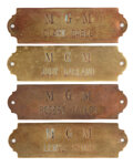 Movie/TV Memorabilia, Metro-Goldwyn-Mayer studios (4) brass dressing room plaques for Judy Garland, Clark Gable and others....