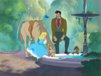 """""""Cinderella"""" as a young girl and her """"Father"""" production cels on a matching production background fr..."""