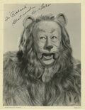 """Movie/TV Memorabilia, Bert Lahr """"Cowardly Lion"""" signed photo from The Wizard of Oz...."""