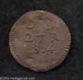 Mexico: , Mexico: Oaxaca. Copper 2 Reales SUD 1814, KM228, very scarcevariety with OAXACA spelled out. VF or better for wear, but withnumero...