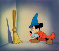 """""""Mickey Mouse"""" and """"Broom"""" production cels on a Courvoisier airbrushed background from the Sorcerer'..."""