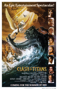 Ray Harryhausen signed 1-sheet poster for Clash of the Titans