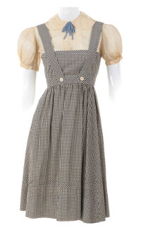 """""""Dorothy Gale"""" scene specific screen used black-and-white gingham pinafore dress from The Wizard of Oz"""