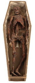 Movie/TV Memorabilia, Miniature corpse in coffin made by ILM for the gruesome climax in Poltergeist....
