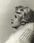 """Movie/TV Memorabilia, Jean Harlow extremely rare photograph signed both as """"Jean Harlow"""" and """"Harlean""""...."""