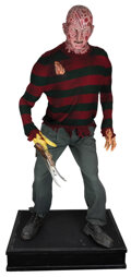 """Movie/TV Memorabilia, Robert Englund """"Freddy Kruger"""" screen worn costume and replica bladed glove on a life-size display figure from Freddy vs. Jaso..."""
