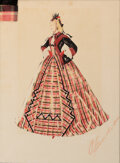 """Movie/TV Memorabilia, Walter Plunkett costume sketch of Isabel Jewell as """"Emmy Slattery"""" from Gone With the Wind...."""