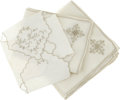 Movie/TV Memorabilia:Memorabilia, Ava Gardner Owned Napkins and Place Mats. Includes eight off-whitenapkins, four off-white place mats with taupe stitching, ...