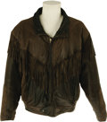 "Movie/TV Memorabilia:Costumes, Bruce Willis Leather Jacket From ""Moonlighting."" Brown leather coatwith fringe, worn by Bruce Willis as ""David Addison Jr.""..."