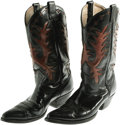Movie/TV Memorabilia:Costumes, Ken Maynard Boots. A pair of hand-tooled, black leather cowboyboots with red leather flame design, owned and worn by the co...