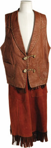 "Movie/TV Memorabilia:Costumes, Dale Evans ""Roy Rogers Show"" Costume. A leather vest by Nudie Cohnand suede gaucho pants worn by Dale Evans on the 1950s We..."