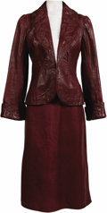 Music Memorabilia:Autographs and Signed Items, Joni Mitchell Signed Red Hand Tooled Leather Stage Outfit. Anattractive custom-made red leather skirt and jacket with hand-...