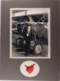 "Movie/TV Memorabilia:Autographs and Signed Items, Amelia Earhart Autographed Heart with Photo. This small, redcardboard, heart-shaped tag is inscribed ""To Lorabel with best ..."