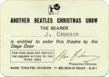 Music Memorabilia:Memorabilia, Beatles Christmas Show Stage Pass. Made out to one J. Crocker, thispass allowed the bearer entrance via the stage door dur...