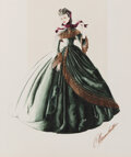 """Movie/TV Memorabilia, Walter Plunkett (2) costume sketches for Vivien Leigh """"Scarlett O'Hara's"""" iconic """"Drapery Dress"""" from Gone With the Wind...."""