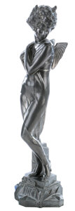 """Movie/TV Memorabilia, Clara Bow 1929 Deco pewter statue presented to Bow for personifying """"It"""" including It Café ephemera...."""