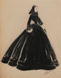 """Movie/TV Memorabilia, Walter Plunkett costume sketch for Vivien Leigh """"Scarlett O'Hara's"""" in mourning dress costume for Gone With the Wind...."""