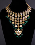 """Movie/TV Memorabilia, Lady GaGa """"The Countess"""" silver set Indian style rhinestone necklace with green beads from American Horror Story: Hotel...."""