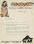 Movie/TV Memorabilia, Walt Disney historical archive of (8) letters relating to the making of Fantasia and other Disney projects....