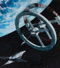 Robert McCall original poster concept artwork featuring Pan Am Clipper and rotating wheel space station for 2001: A Spac...