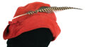"""Movie/TV Memorabilia, Alan Hale """"Little John"""" signature red suede hat from The Adventures of Robin Hood...."""