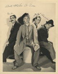 Movie/TV Memorabilia, The Marx Brothers excessively rare oversize photograph signed by Groucho, Harpo, Zeppo, and Chico Marx....