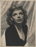 Movie/TV Memorabilia, Judy Garland vintage oversize photograph by Clarence Sinclair Bull inscribed by Garland to Peter Lawford. ...
