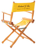 Movie/TV Memorabilia, Michael J. Fox on-set chair with Elisabeth Shue chair back fromBack to the Future II & III....