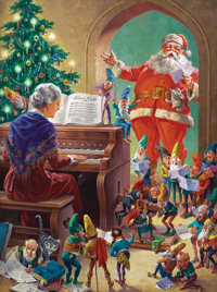 Original oil painting by George Hinke for Jolly Old Santa Claus