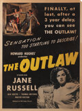 Movie/TV Memorabilia, Howard Hughes personal 30 x 40 poster for The Outlaw....