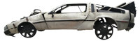 """Screen used iconic DeLorean Crash Car and hood-mounted """"time travel component box"""" from Back to the Future Par..."""