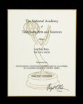 Movie/TV Memorabilia, Lucille Ball Emmy nomination plaque for The Lucy Show. ...