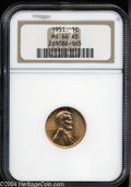 Lincoln Cents: , 1951 MS66 Red NGC. ...