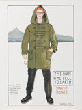 """Movie/TV Memorabilia, David Bowie """"Thomas Newton"""" costume sketch by May Routh for The Man Who Fell to Earth...."""