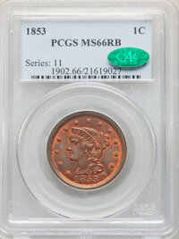 1853 1C MS66 Red and Brown PCGS. CAC. PCGS Population: (12/0). NGC Census: (27/1). CDN: $1,550 Whsle. Bid for NGC/PCGS M...
